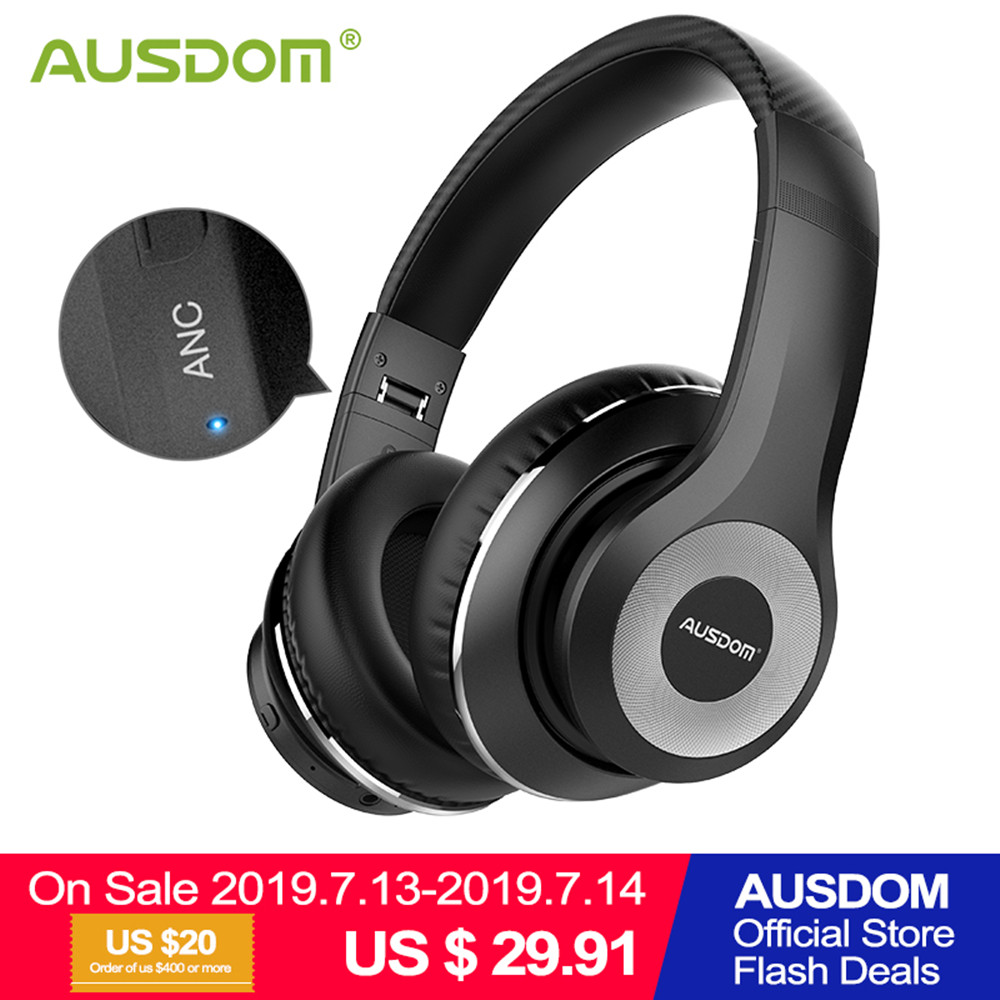 Ausdom ANC10 Wireless Headphones Bluetooth 5.0 with Microphone Wireless Bluetooth Headset Earphone Active Noise Cancelling