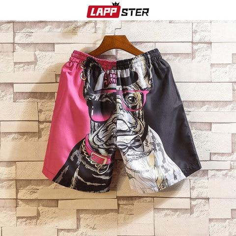 LAPPSTER Men Summer Patchwork Shorts 2019 Mens Streetwear Hip Hop Shorts Casual Shark Polyester Colorful Sweat Shorts Big Size Karachi