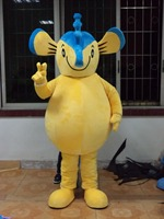 Lovely Blue Yellow Seahorse Hippocampus Mascot Costume With Yellow Belly Short Arms Legs Long Volume Tail Adult Size