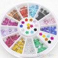 5 Ruedas Nail Art 12 Colores Crystal Rhinestone Del Brillo de La Flor Manicura Clavos de las Ruedas