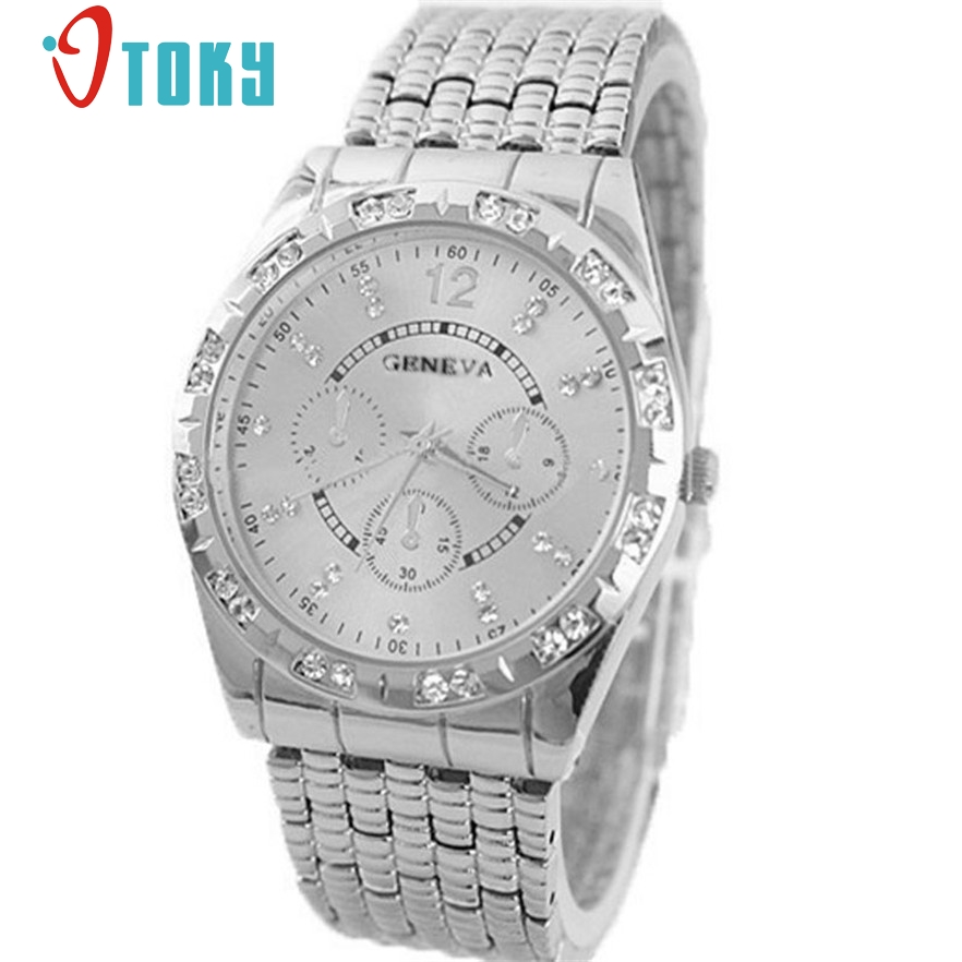 OTOKY Fashion Diamond Men Watches Male Clock Men Full Steel Watch Quartz Business Watches For Men Relojes #40 Gift 1pc relojes full stainless steel men s sprot watch black and white face vx42 movement