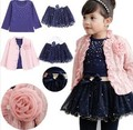 Free shipping 2016 spring baby girls clothing sets 3 pieces suit girls flower coat + blue T shirt + tutu skirt girls clothes