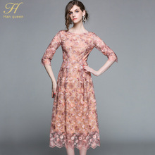 H Han Queen Elegant hollow out lace dress women 2018 Half sleeve summer style vintage slim sexy party casual dresses vestidos