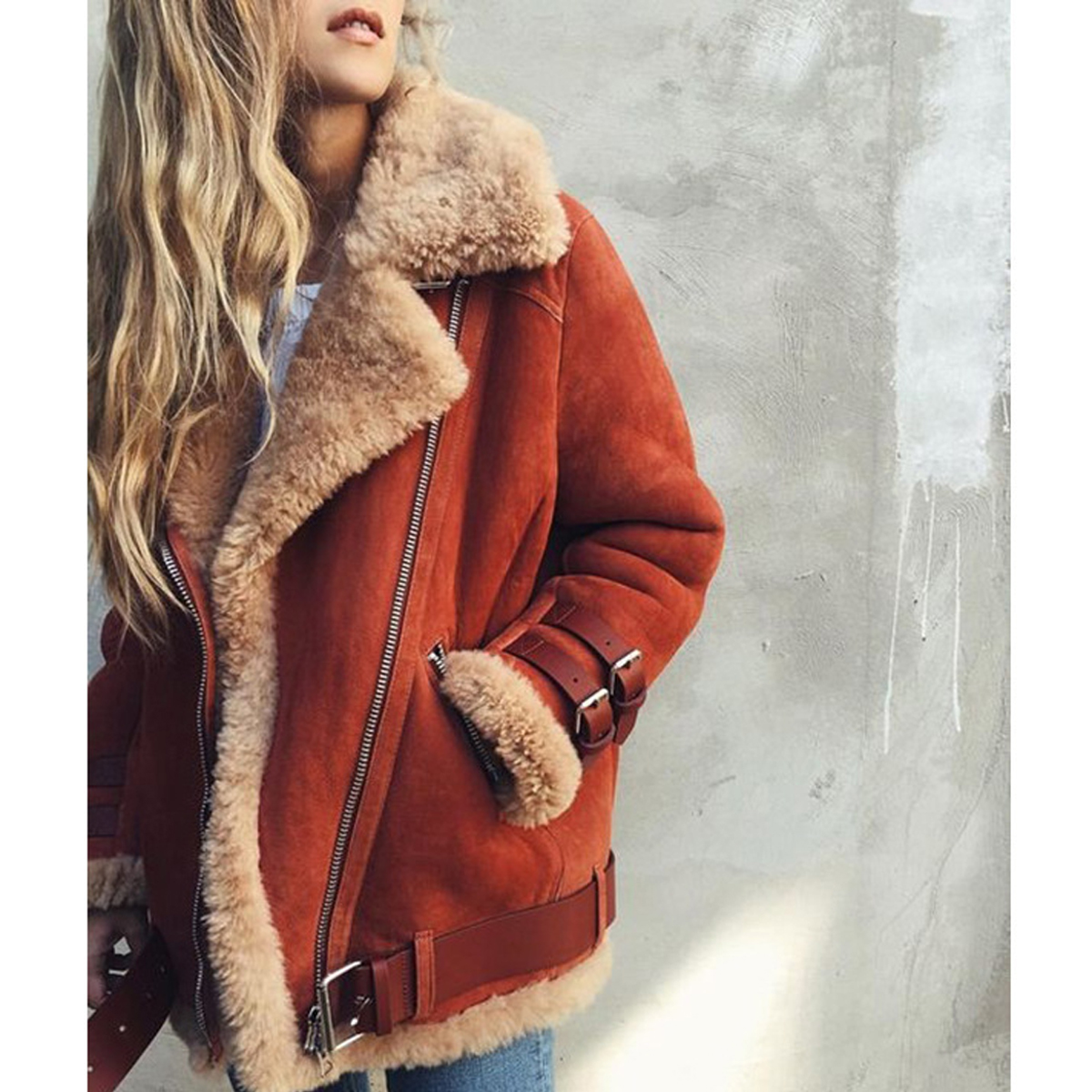 2018 Winter   Leather     Suede   Lamb Fur Jacket Coat women Faux   Suede   Jacket Belt Outerwear Coat Female Casual Zipper Moto Overcoat