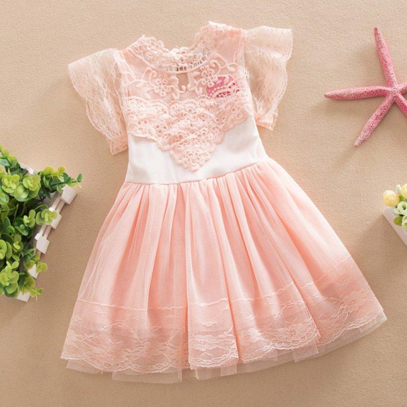 Summer Toddler Girls Baby Kids Lace Tulle Dress Floral Princess Tutu Dress 2-7Y
