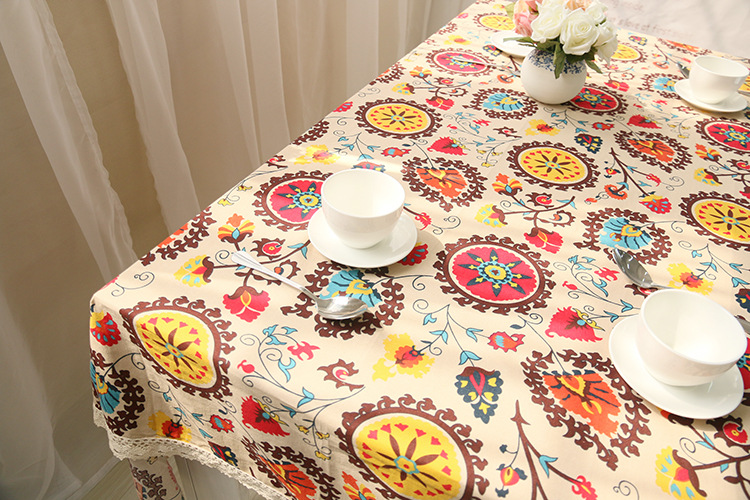National wind explosion models cotton linen tablecloths Sun flower table cloth tablecloth Table Covers for Wedding Party Home 14