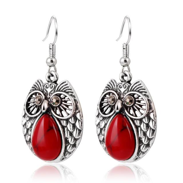 17KM Summer Style Jewelry Sets Vintage Green & Red Stone Pendant Necklace Owl Drop Earrings Charm Bracelet  For women