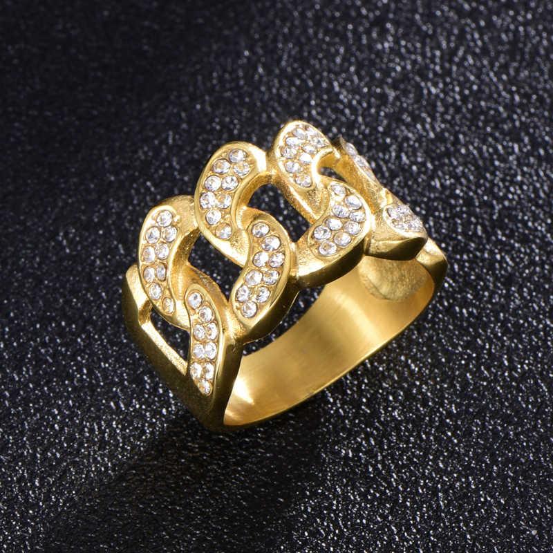 778c83854d64 ... HIP Hop Micro pavé de diamantes de imitación helado Bling enlace cubano  cadena anillo IP lleno ...