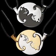 Два кота, пара, ювелирное ожерелье, черный, белый, котенок, животное, подвеска, колье, ожерелье для женщин, День Святого Валентина, День благодарения, подарок
