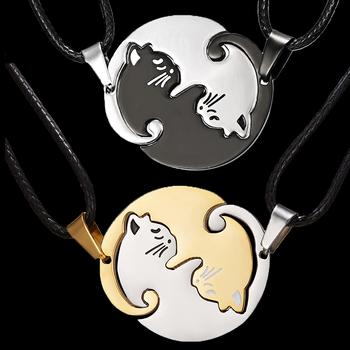 Dwa kotki pary biżuteria naszyjnik czarny biały kotek wisiorek z motywem zwierzęcym Choker naszyjnik kobiety walentynki dzień dziękczynienia prezent tanie i dobre opinie RINHOO FRIENDSHIP Ze stopu cynku Wisiorek naszyjniki CN (pochodzenie) TRENDY Łańcuch liny Metal Zwierząt Wszystko kompatybilny