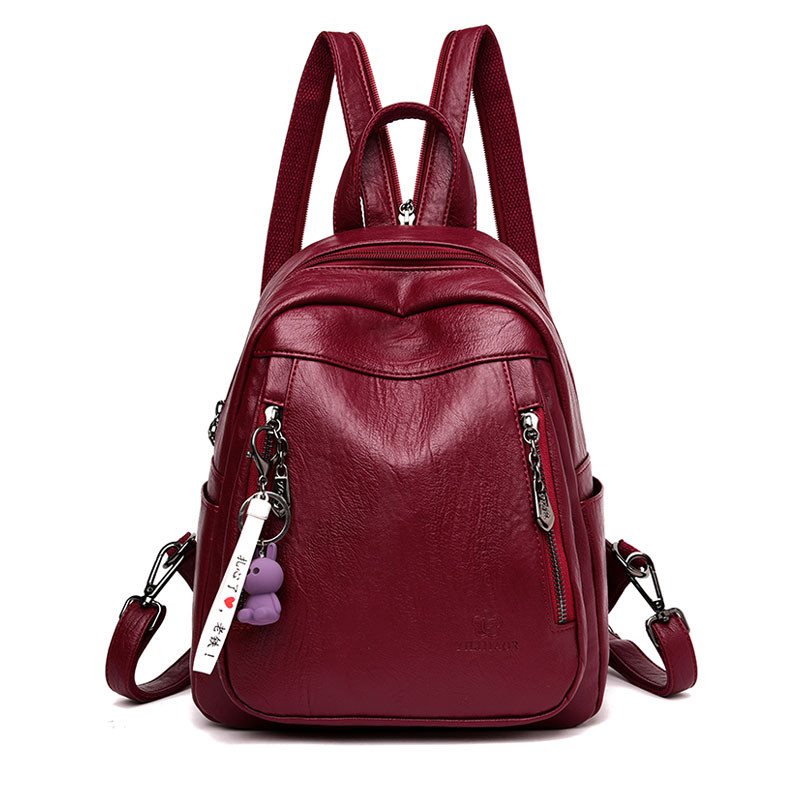 Famous Brand High Quality Leather Backpack Woman Simple Design Double Zipper School Shoulder Bag For College Mochila Feminina