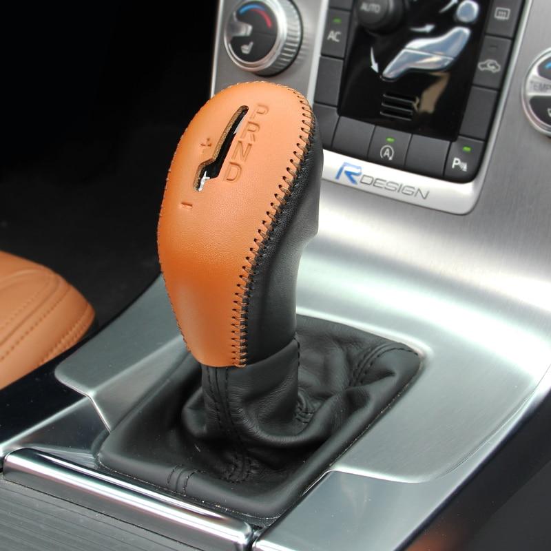 Airspeed ნამდვილი ტყავის მანქანის კონსოლი Gear Shift დეკორატიული ყდის Handbrake დამცავი ყდის Volvo XC60 S60 V60 V40
