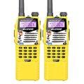 2 unids amarillo original baofeng uv-5ra transceptor amateur ham radio portátil con el auricular libre