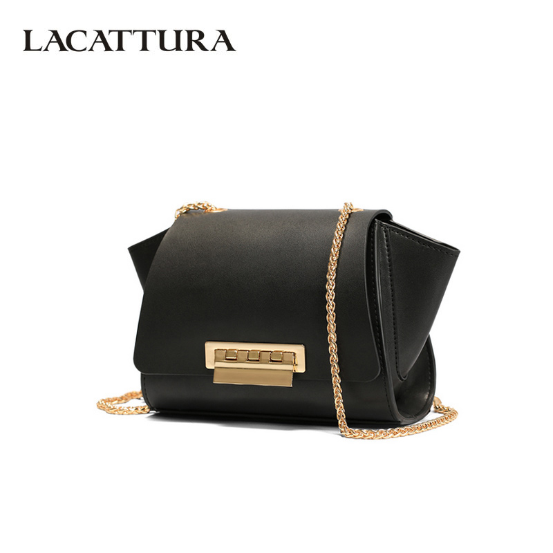 LACATTURA Luxury Handbag Designer Women Leather Shoulder Bag Lady Chain Messenger Bags Fashion Crossbody for Women Brand lacattura small bag women messenger bags split leather handbag lady tassels chain shoulder bag crossbody for girls summer colors