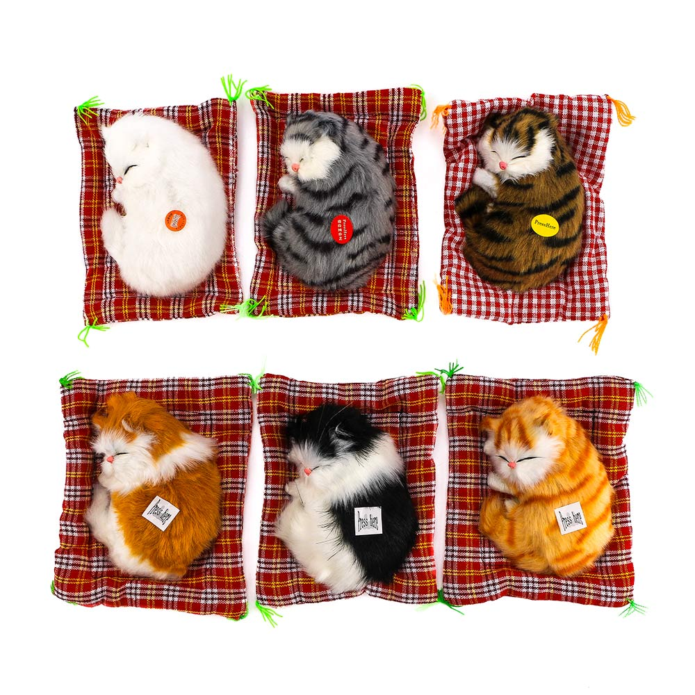 Creative Car Ornaments Simulation Sleeping Cats Decoration Automobiles Lovely Plush Kittens Doll Toy Car Interior Accessories