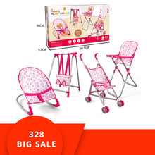 4 In 1 Baby Children Doll House Accessories Stroller Cot Bed Dolls Toys Set Miniature Dollhouse DIY Kit Christmas Gift Box