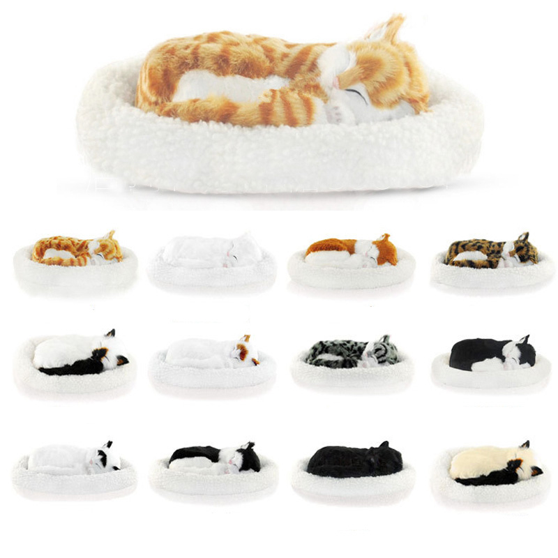 Kawaii Simulation Cat Breathing Stuffed Toys for Children Animal Model Home Decoration Lover
