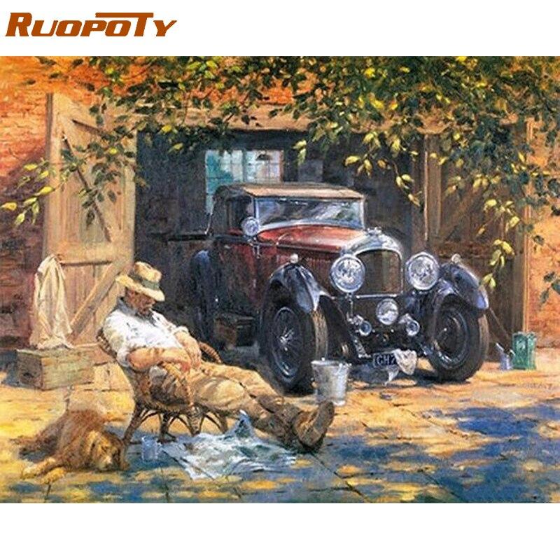 RUOPOTY Relax Auto Immagine Tela Pittura di Diy Dai Numeri Vernice Acrilica Dell'annata Pittura Dipinta A Mano Per La Casa Wall Art Decor