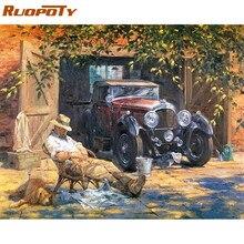 RUOPOTY-toile acrylique avec chiffres de peinture à la main, peinture Vintage peinte à la main avec les chiffres, pour décor mural