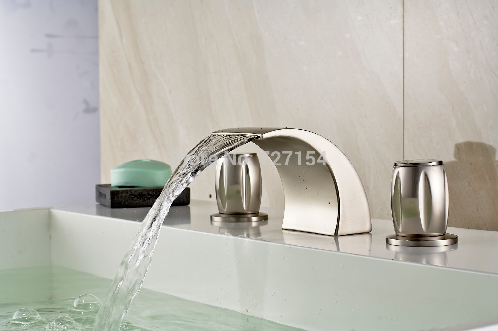 Free Shipping! New Waterfall Nickel Brushed Bathroom Basin Faucet Dual Handles Sink Mixer Tap brand new 3pcs brushed nickel waterfall bathroom sink faucet square handles basin mixer tap