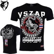 c83eef625ed94 Новая мужская футболка VSZAP Tiger для спорта, аэробики для бега, одежда  для бокса, фитнеса, тренажерного зала, дешевая футболка.
