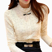 New 2015 Autumn Spring Women Elegent Lady Chiffon Lace Blouse Top Sequins Shirt Basic Casual Hollow