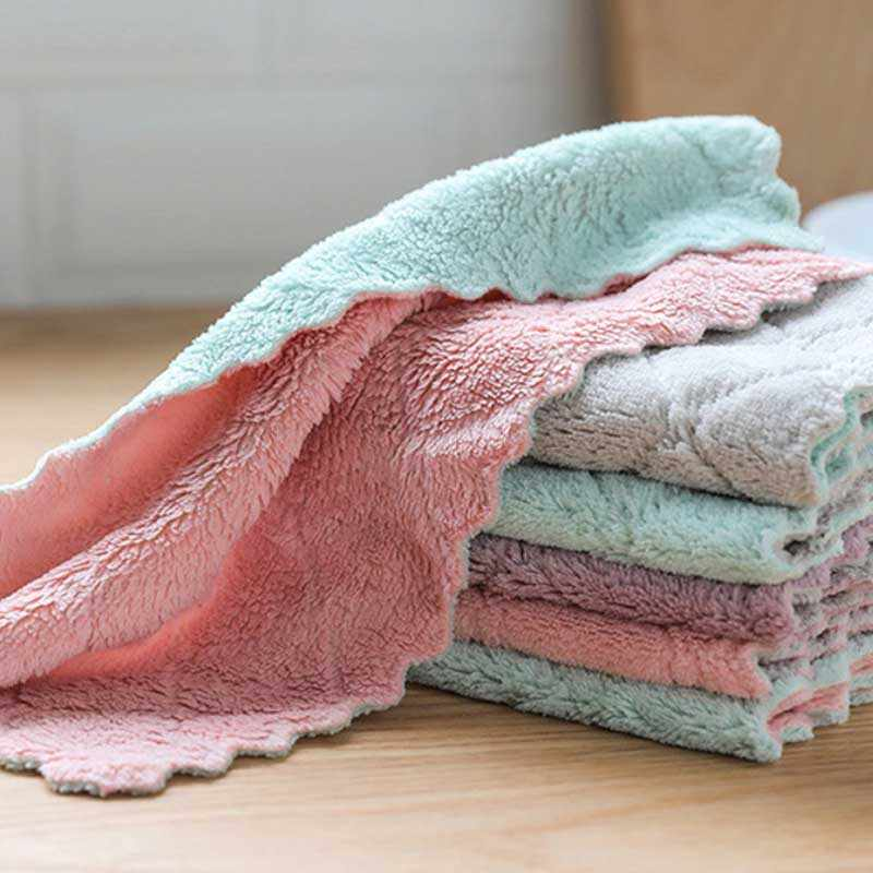 Household Kitchen Towels Absorbent Rag Thick Double-Layer Microfiber Wipe Tablecloth Nonstick Cleaning Towel Cloth Kitchen Tools