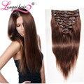 Afogar escuro grampo em extensões de cabelo humano cabeça cheia 8 pcs grampo de cabelo brasileiro em extensões de cabelo humano grampo em extensões longqi