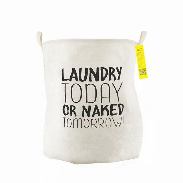 Algodón carta patrón cesta con mango Lino Zakka Vintage cesta de lavandería Fold Bin Almacenamiento de ropa sucia