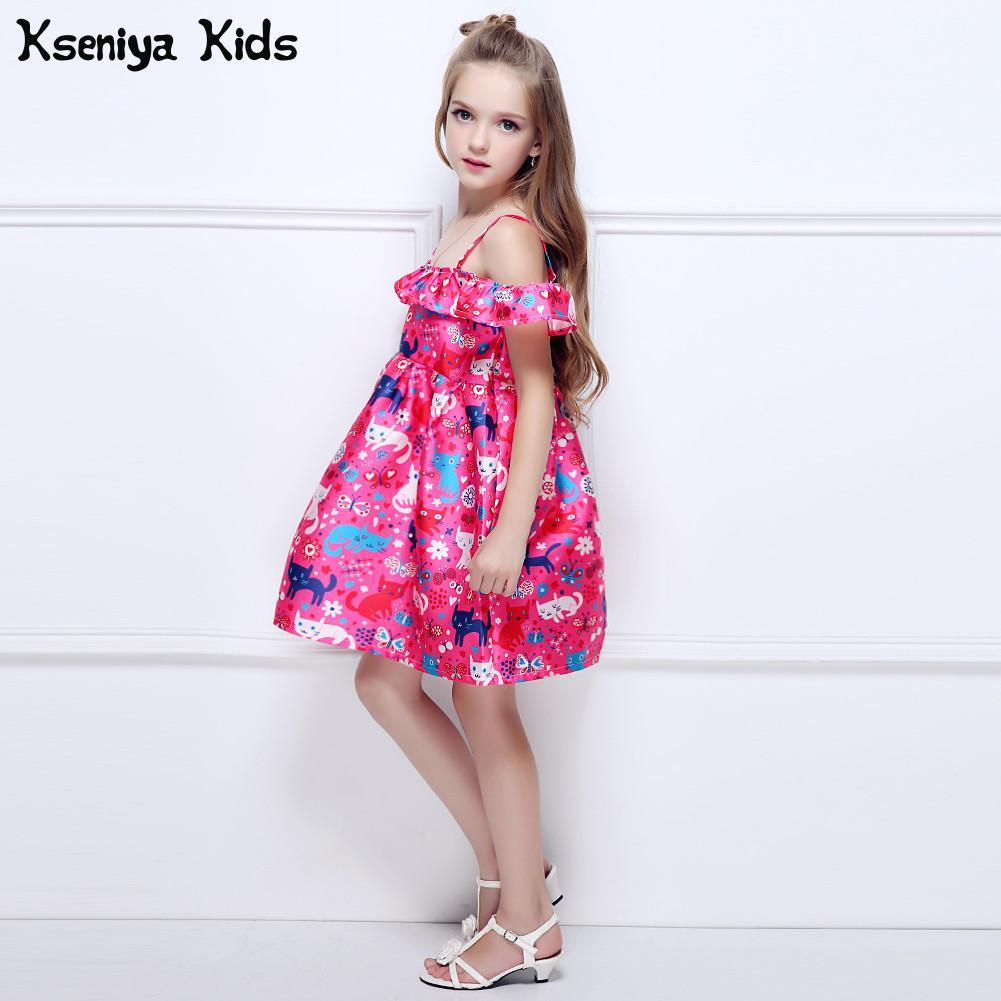 Kseniya Kids Summer Brand Children Girls Cute Cat Print Flower Shoulderless Princess Dress Baby Girl Ball Gown Dresses Monsoon kseniya kids new summer children baby