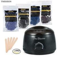 EU/US/UK Plug Depilatory Wax Heater Set For Bikini Hair Removal Spa Wax Warmer 100g Painless Hard Wax Beans 5pcs Waxing Spatulas
