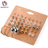 Danze Hot Classic 20 Pairs Pack Set Rhinestone Crystal Simulated Pearl Stud Earrings Set For Women Gold Color Brincos Aros