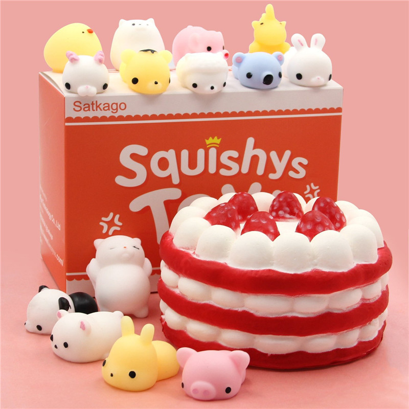 Squishys Toys Slow Rising Squishy Strawberry Cake Slow Rising Squishys +14 Pcs Mini Kawail Squishies Stress Reliever Anxiety Toy
