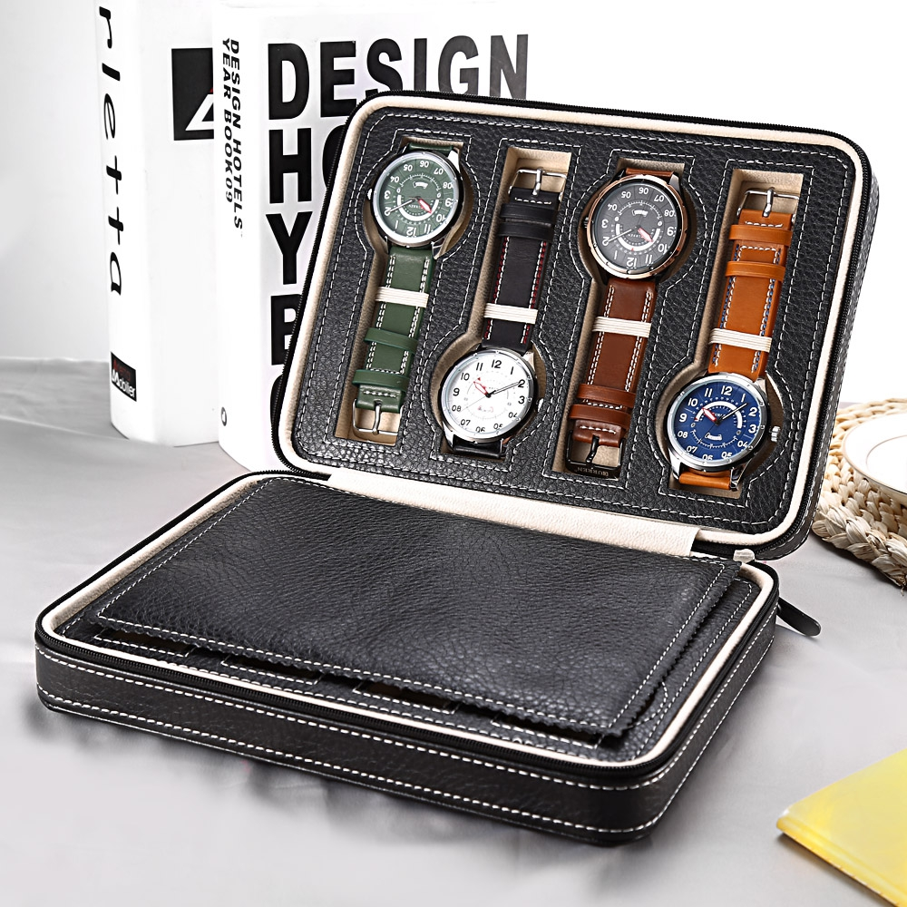 8 Grids PU Leather Watch Box Storage Showing Watches