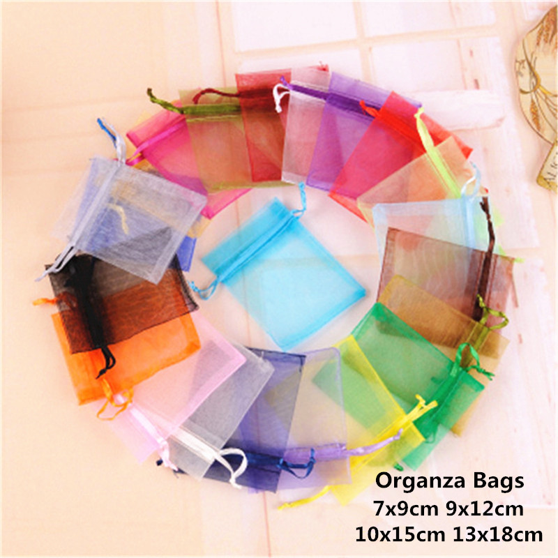 10pcs 7x9cm 9x12cm 10x15 13x18cm Organza Gift Bag Christmas Jewelry Pouches Halloween Wedding Decoration Birthday Party Supplies