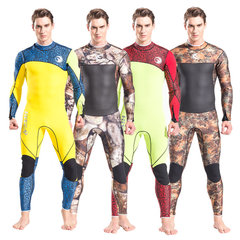 Men's 3mm Neoprene Scuba Diving Wetsuit Man One Piece Long Sleeve Diving Suit Female Swimwear Spear Fishing Snorkeling Wetsuit men s winter warm swimwear rashguard male camouflage one piece swimsuit 3mm neoprene wetsuit man snorkeling diving suit