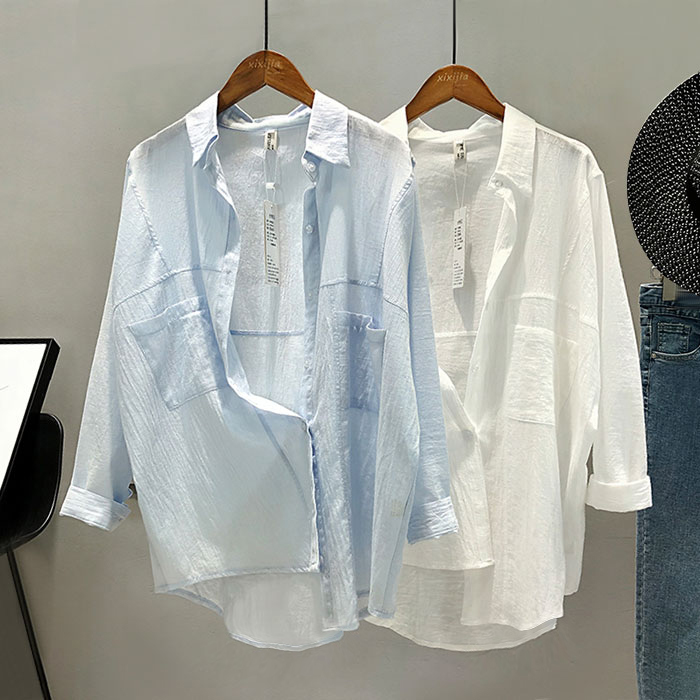2018 Spring Quality Solid Light Blue Batwing Sleeved   Blouses     Shirts   with Pocket White Turn down Collar Loose Cotton Casual   Shirt