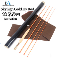 Maximumcatch Skyhigh Gold 9FT 5/6/8WT IM12 Japanese Carbon Fly Fishing Rod 4PCS Half-Well Fast Action Fly Rod maximumcatch top grade 4wt 5wt 6wt 7wt 8wt fly rod 9ft carbon fiber fast action black star fly fishing rod with cordura tube