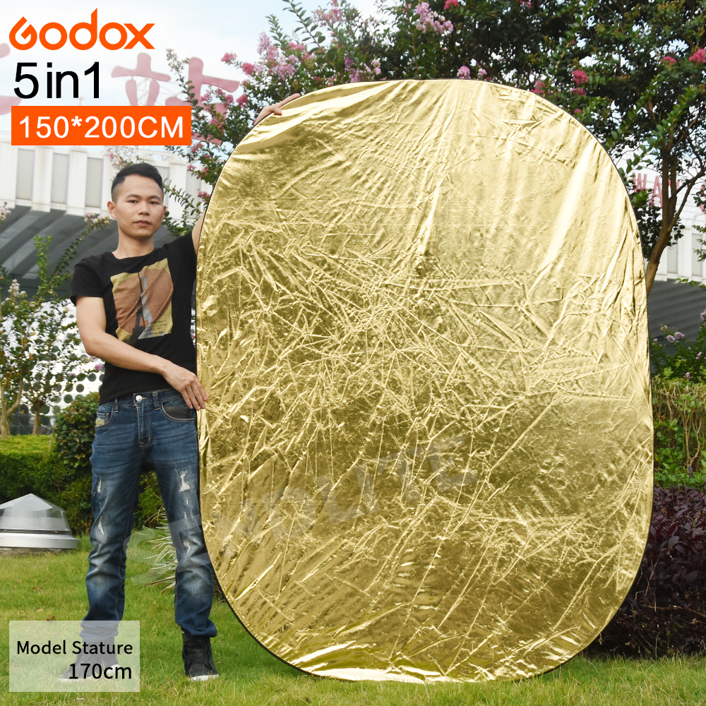 Godox 150*200cm 5 in 1 Portable Collapsible Camera Lighting Photo Disc Reflector Diffuser Kit Carrying Case