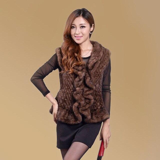 new genuine mink fur coat women short vest mink knitted vest winter mink fur vest free shipping EMS