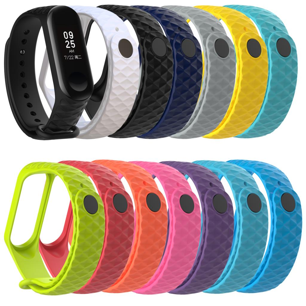 Rhombus Shape Health Sleep Watchband For Xiaomi Mi Band 3 Strap Bracelet Wrist Straps Replacement Multicolor To Choose For Gift