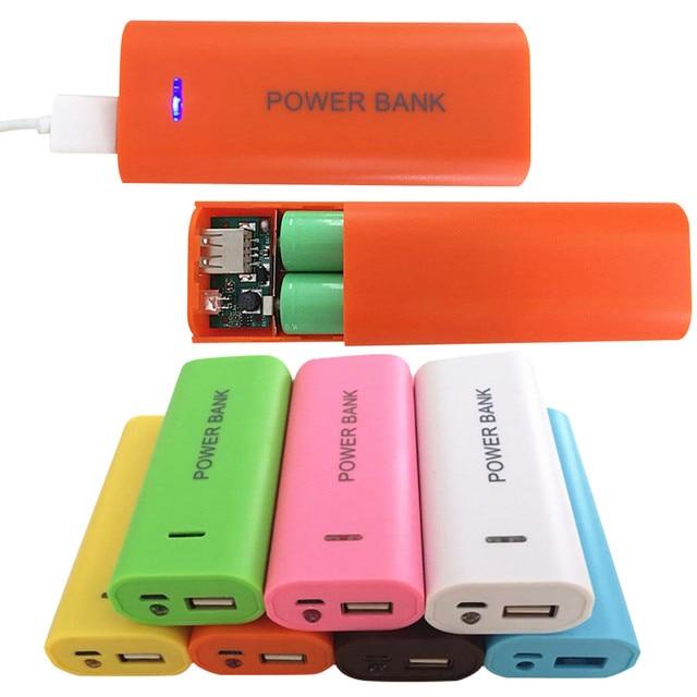 Kẹo Màu Sắc Thời Trang 5600 mah 2X18650 USB Ngân Hàng Điện Pin Sạc Trường Hợp DIY Box Cho iPhone cho 18650 pin