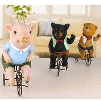 Q glory Kawaii Pig Figurines Garden Figures Home Decor Resin Lovely Pink Pig Miniature Garden Brown Black bear Souvenir Gifts