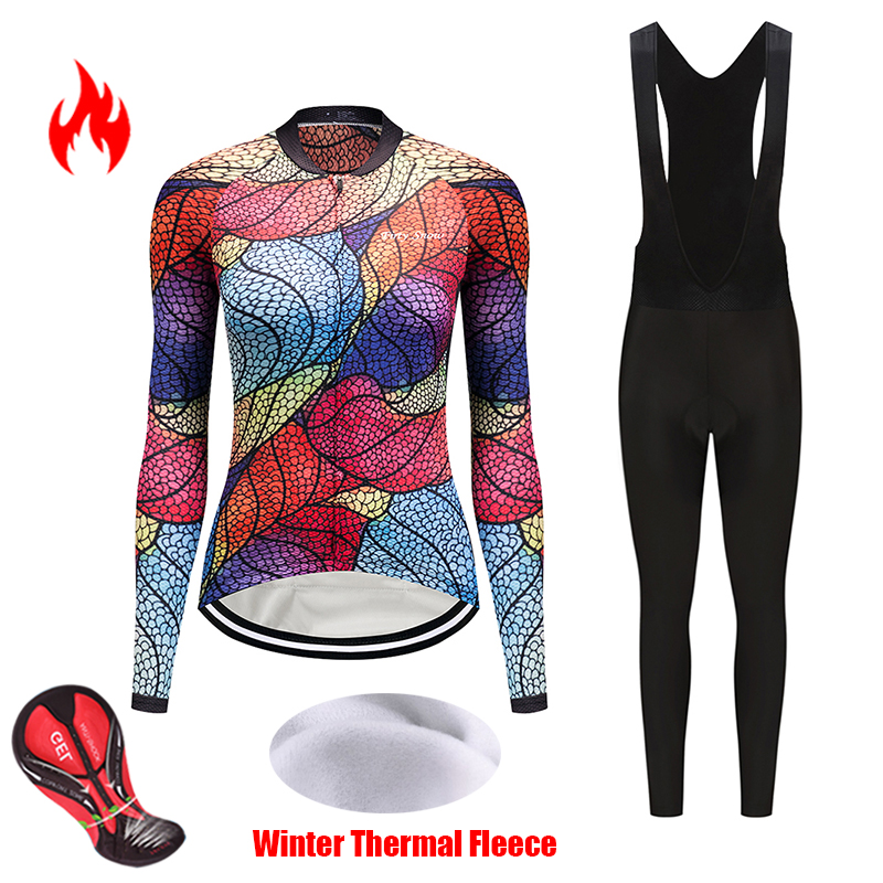 2019 Winter Women's sportswear thermal fleece cycling jersey set female bicycle clothing uniform bike clothes bib trekking kit