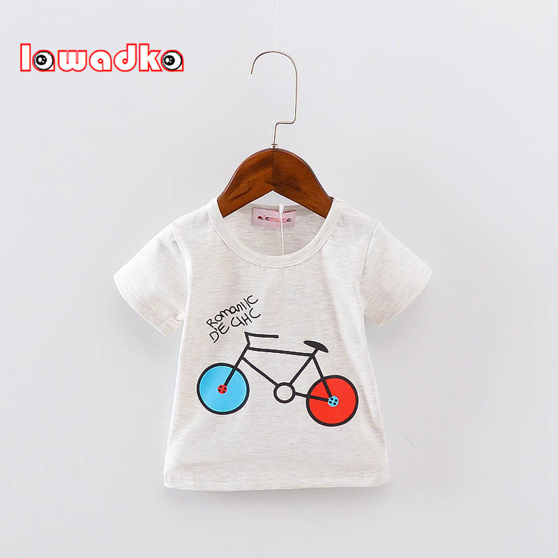 Sport Baby Girls Boys T-shirt Short Sleeve Bicycle Pattern T-shirts For Boys Cotton Children Clothes Summer