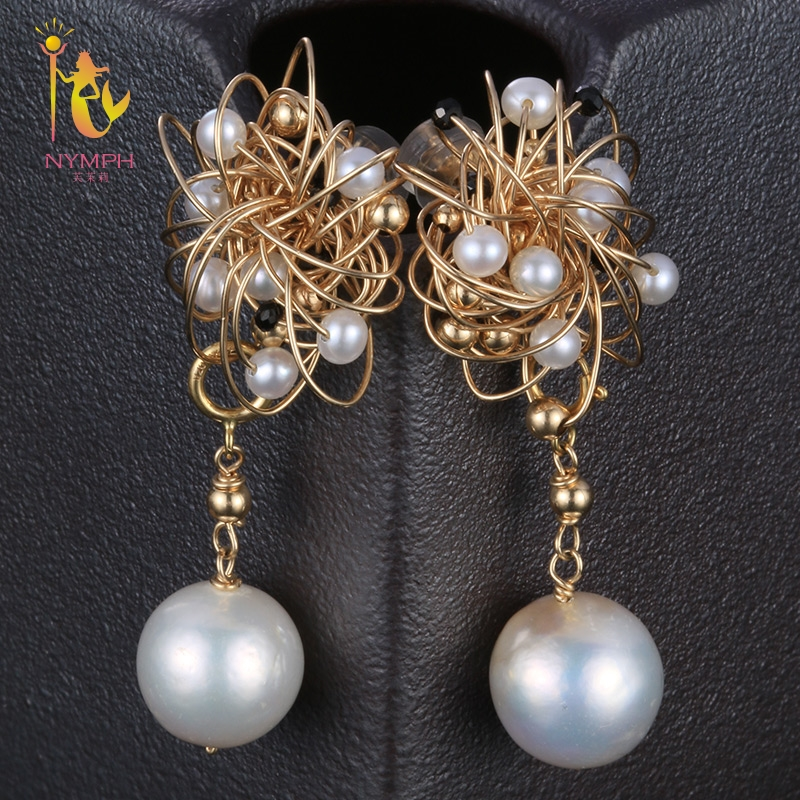 [NYMPH] Freshwater Pearl Earrings For Women Fine Jewelry Big Natural Pearl Drop Earrings Baroque Fashion Gift For Party E314 [zhixi] freshwater pearl earrings for women fine jewelry big pearl earrings gold drop irregular fashion gift for party eb224