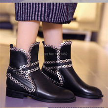 Punk Style Metal Decor Women Genuine Leather Ankle Boots Straps Short Booties Motorcycle Martin Boots Flats Botas Militares