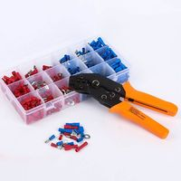 Crimping Plier Set Wire Crimper Kit With 450Pcs Wire Connectors Cold Rolled Tubular Terminal Self Adjustable Connecto