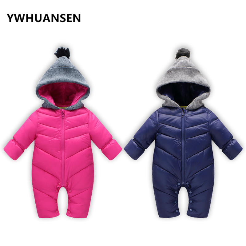 YWHUANSEN Pure Color Childrens Costumes For Girls Thick Newborn Body Boys Down Cotton Baby Winter Clothes Long Sleeve Rompers
