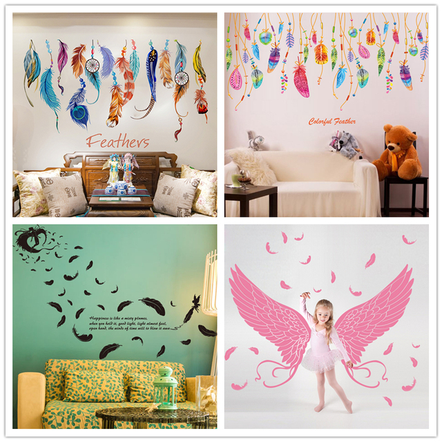 [SHIJUEHEZI] Removable Feather Wall Stickers Colorful Plumage Korean  Dreamcatcher Decals For Living Room Kids
